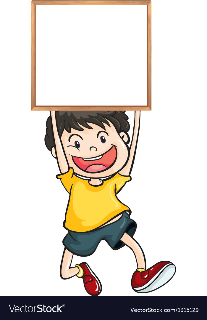 A boy holding an empty framed banner vector