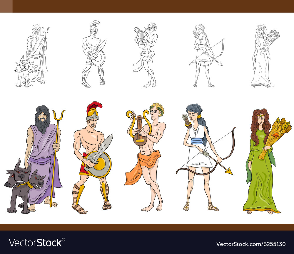 Greek gods set vector