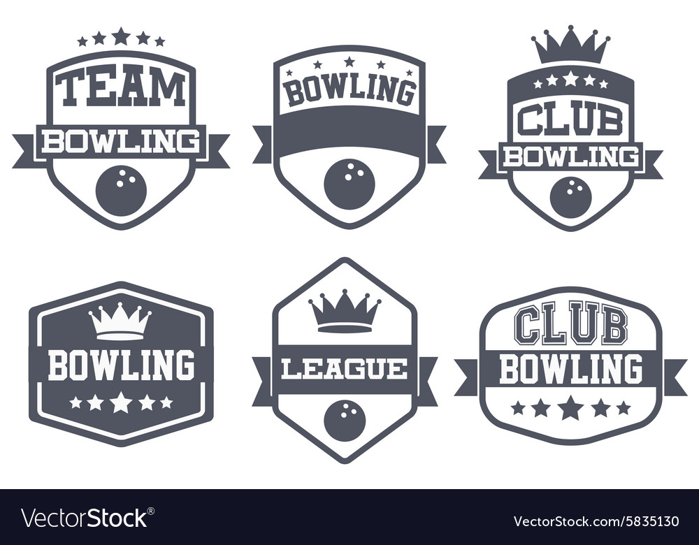 Set of vintage bowling club badge and label vector