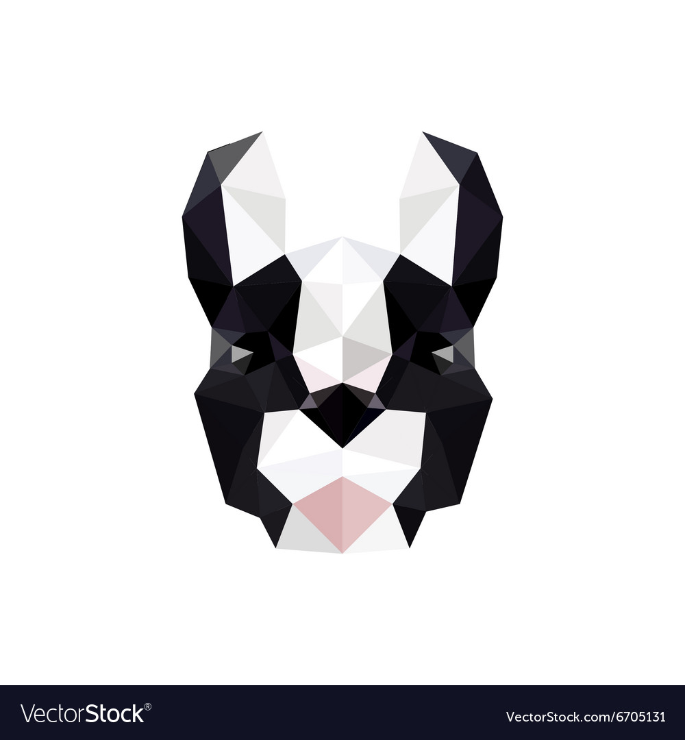 Modern flat design with origami french bulldog vector