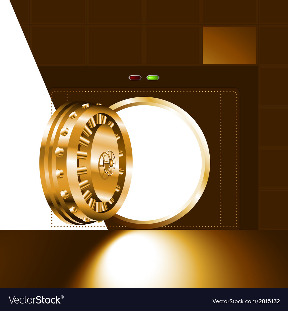 Light open door safe gold vector