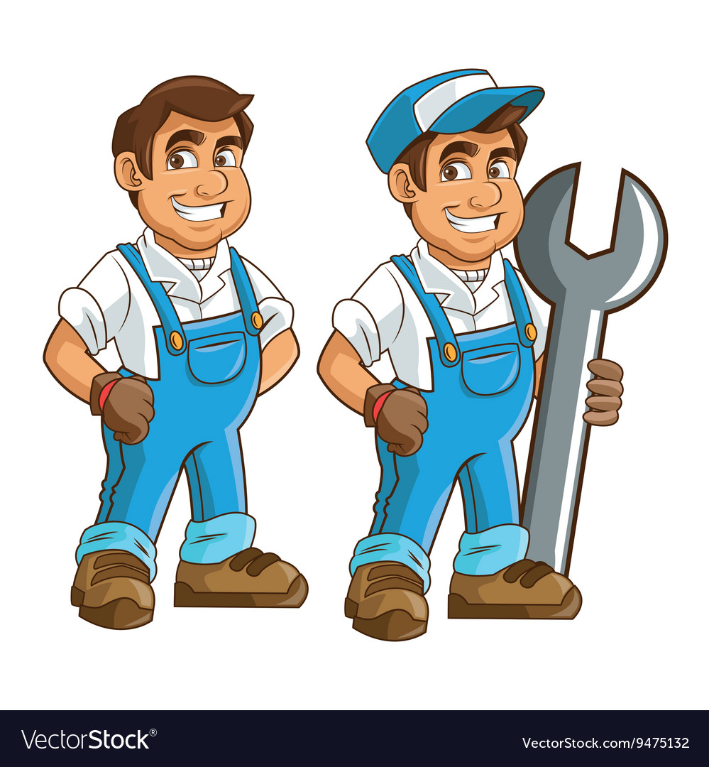 Plumbing service plumber cartoon design vector