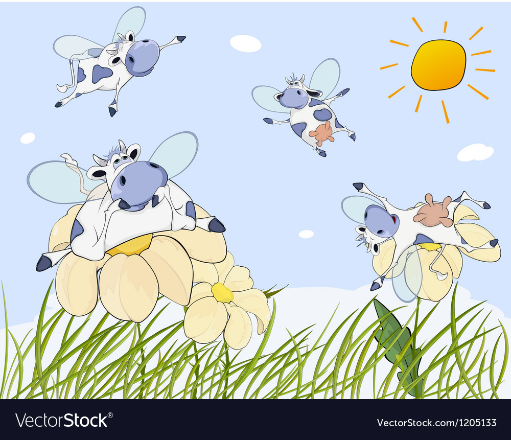 Cheerful cows cartoon vector