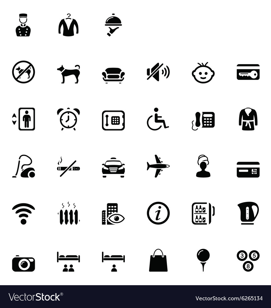33 black hotel icons 02 vector