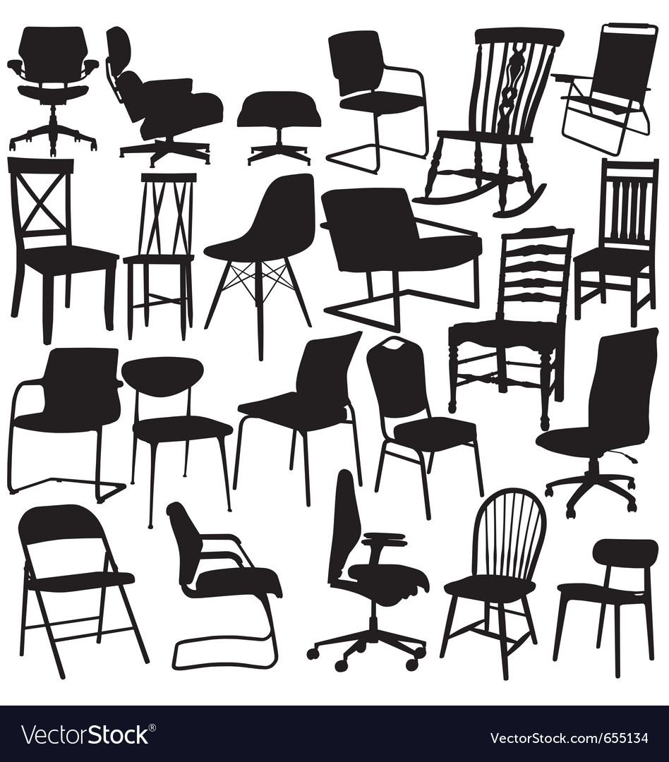 Chair silhouettes on white background vector