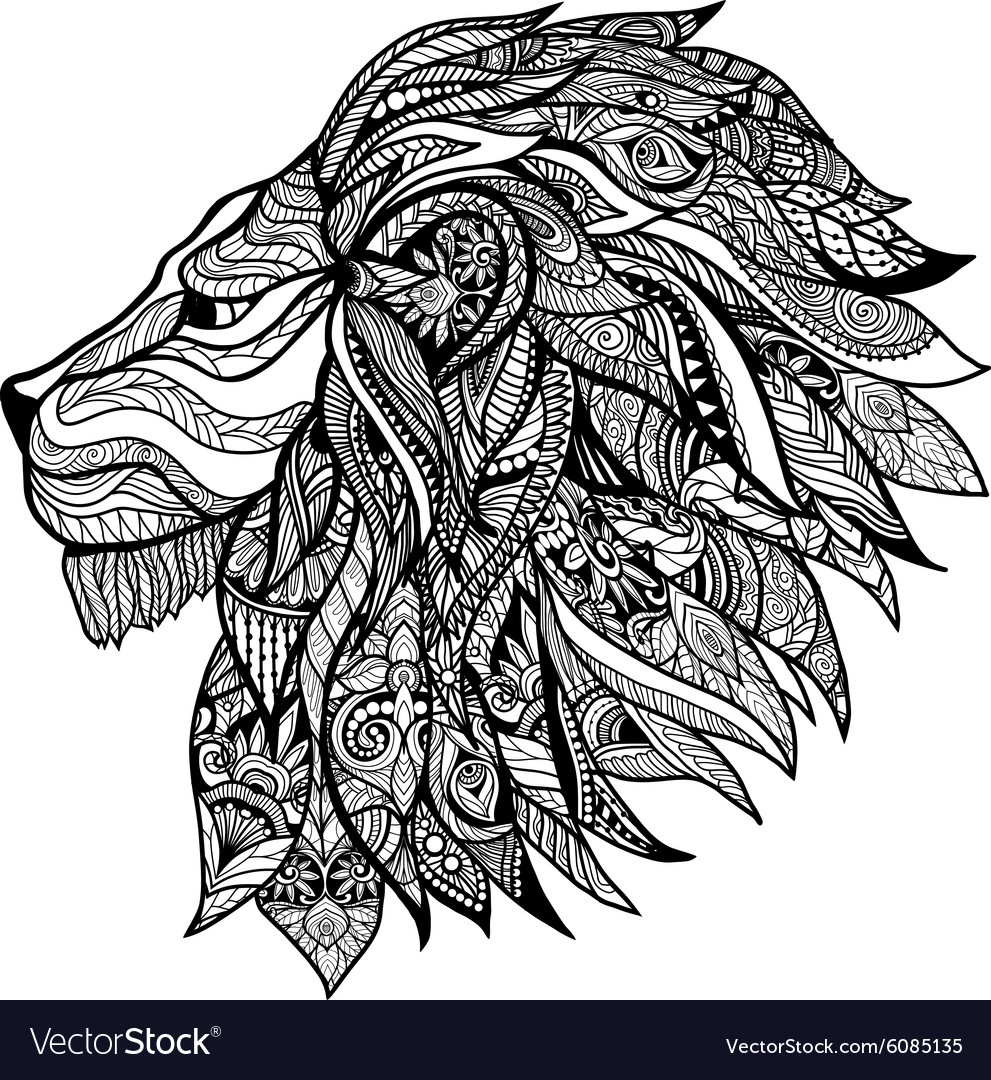 Decorative lion head vector