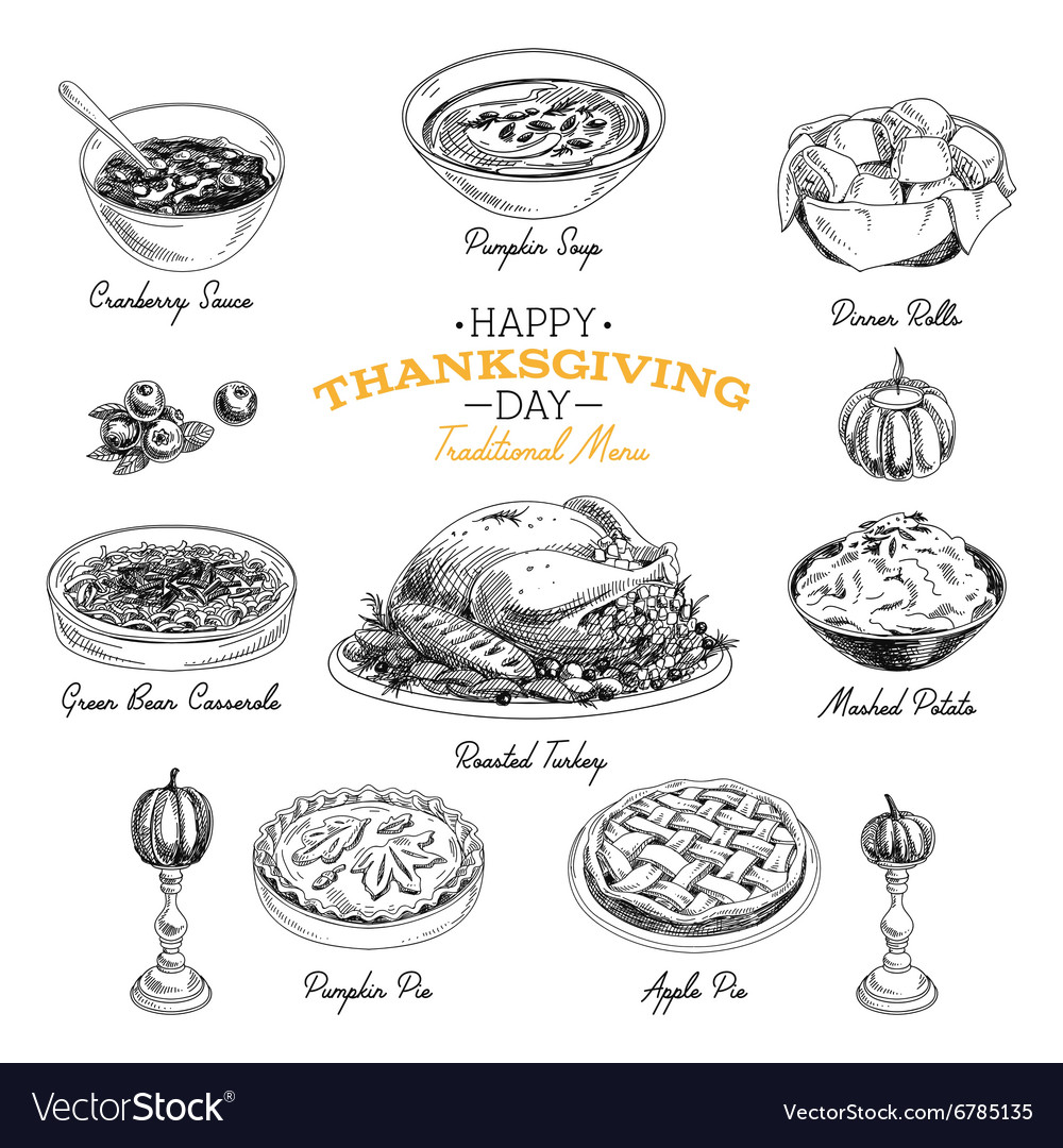 Hand drawn thanksgiving food set vector