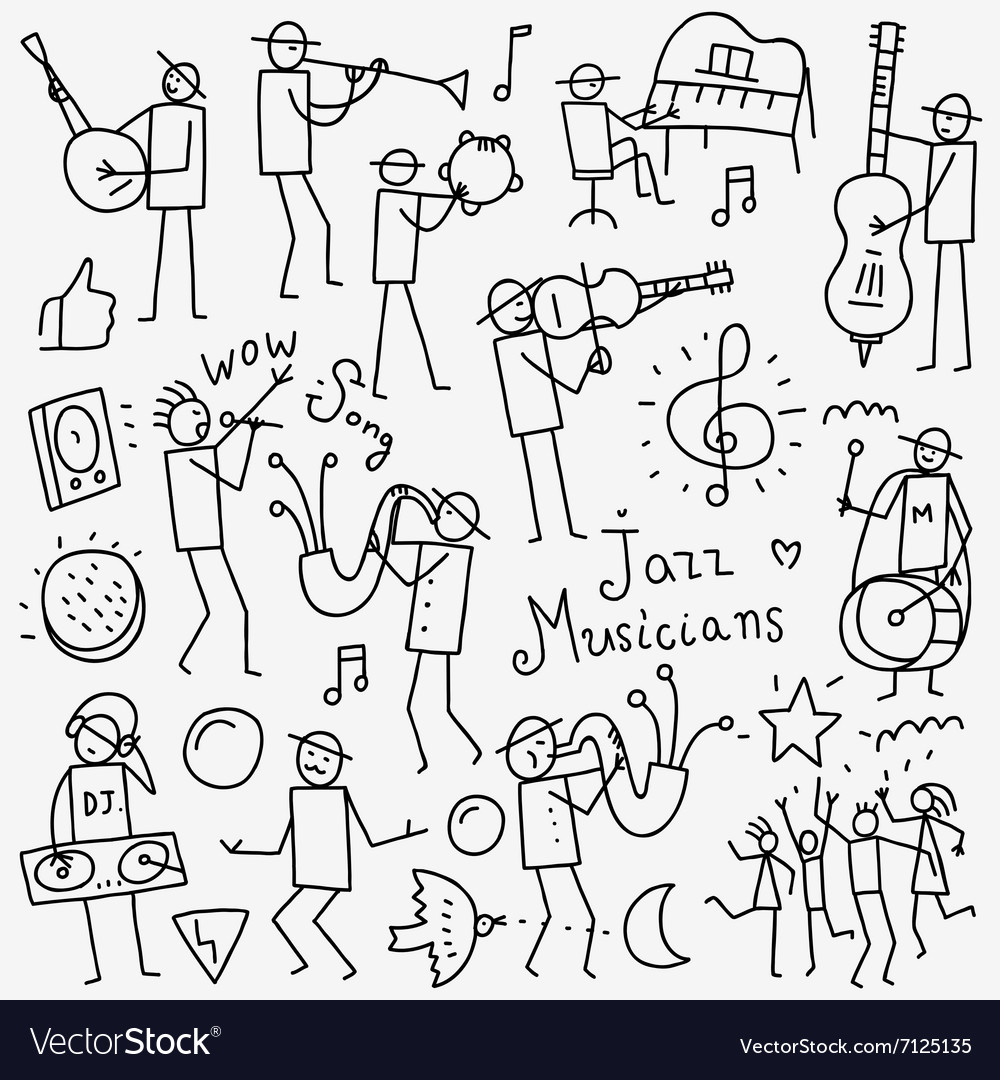 Musicians doodles set vector