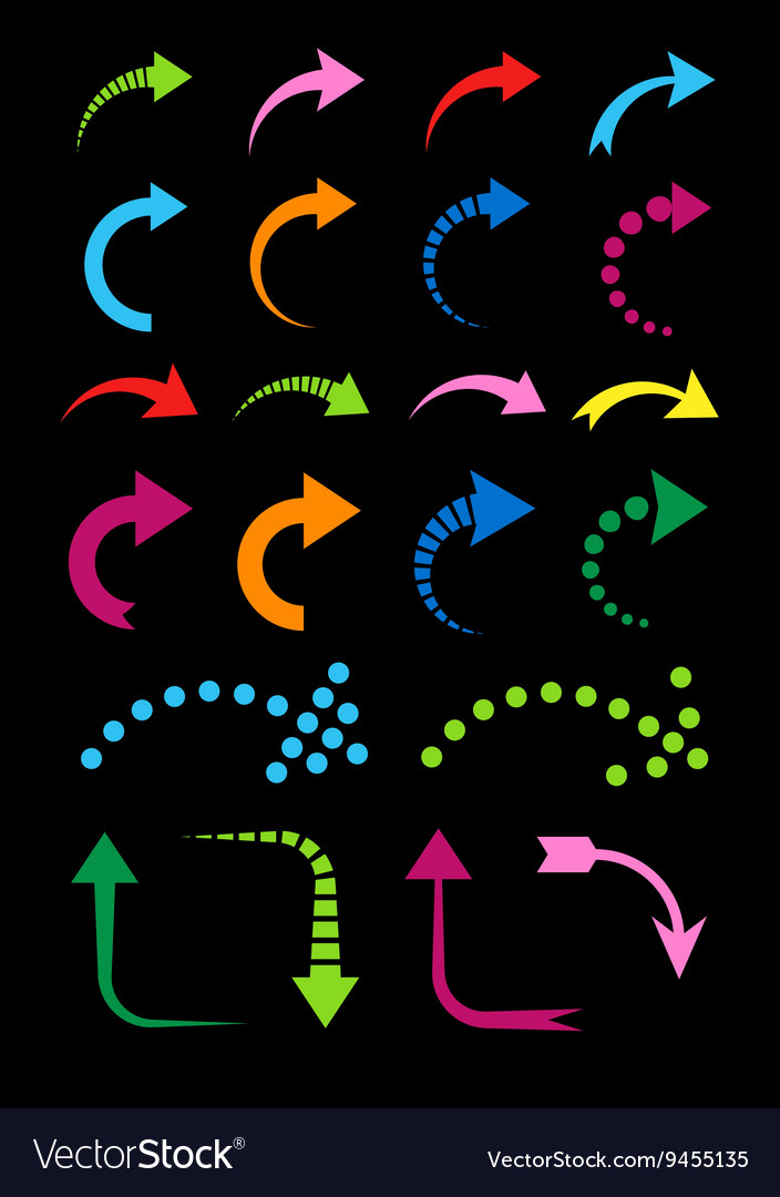Set of curved arrows colorful on black vector