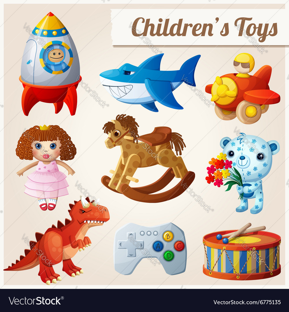 Set of kids toys part 2 vector