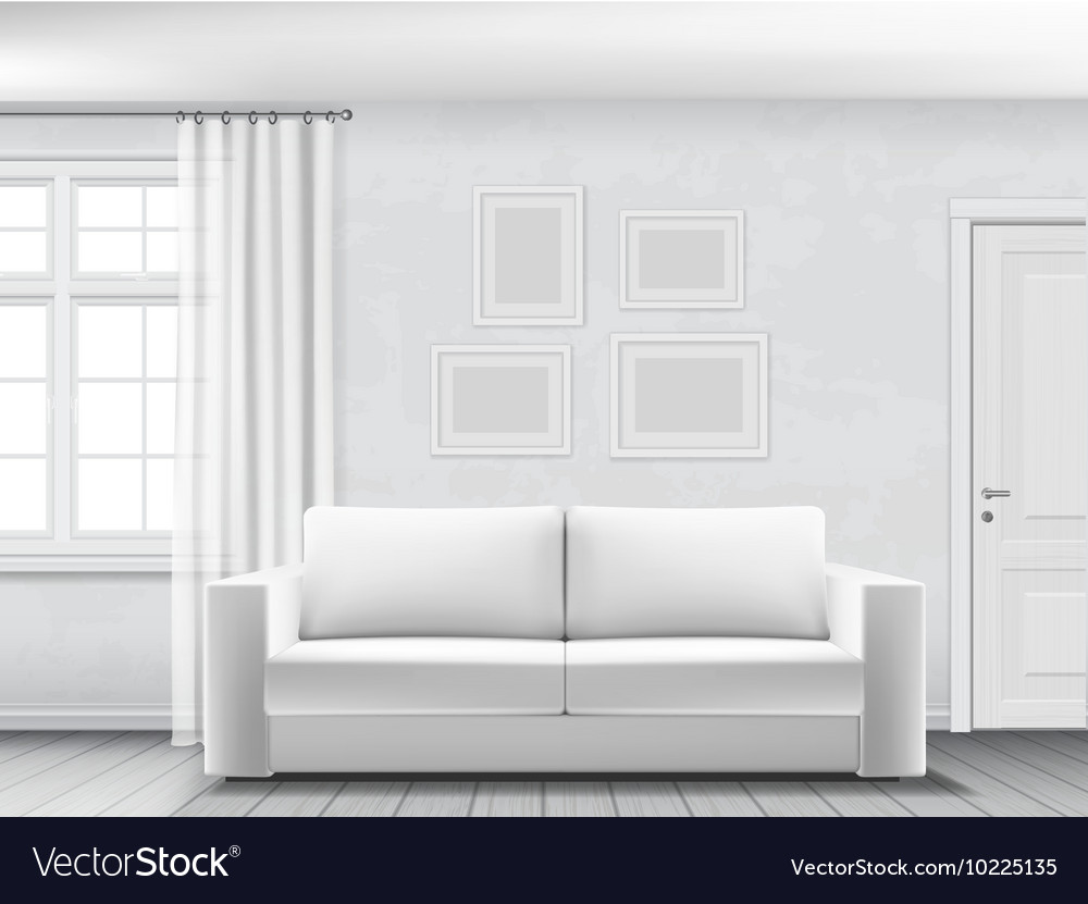White interior with sofa vector