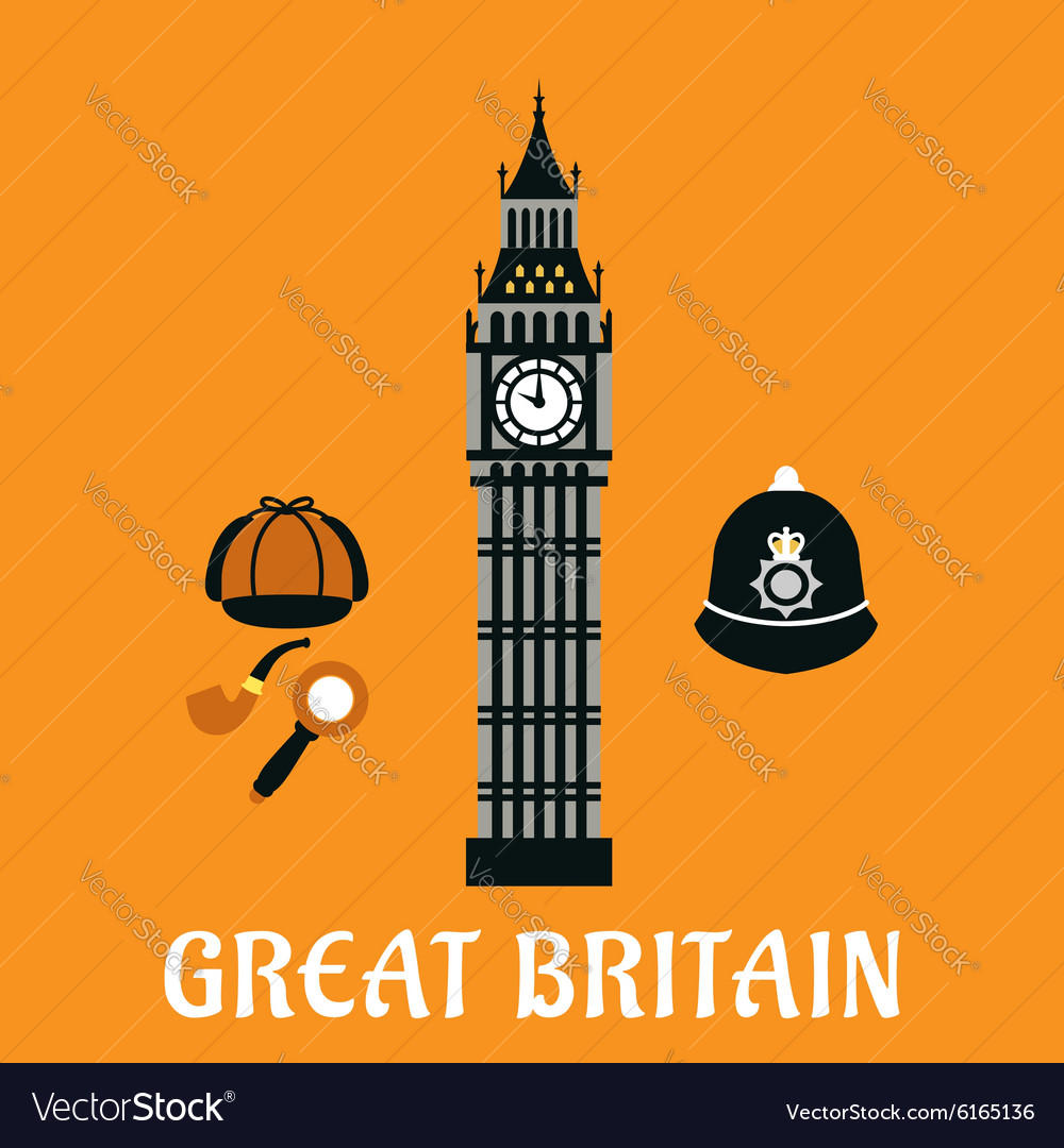 Big ben tower and other britain objects vector