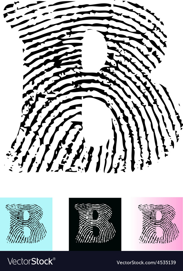 Fingerprint alphabet letter b vector