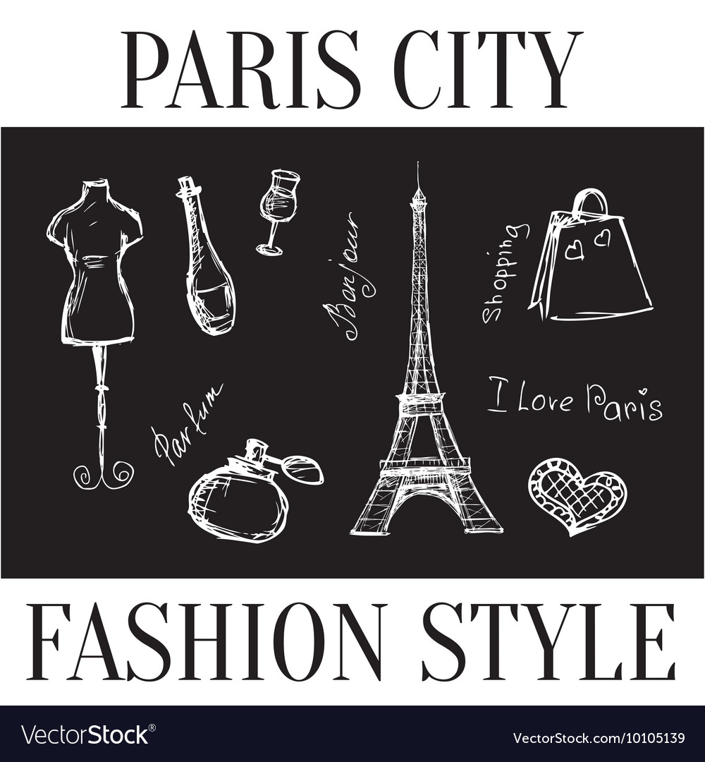 Paris city fashion style symbols of the city vector