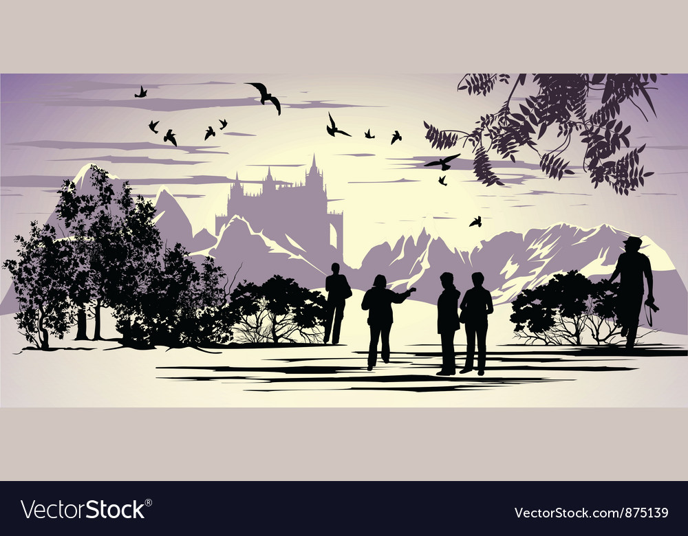 Tourists walk in the park near the ancient castle vector