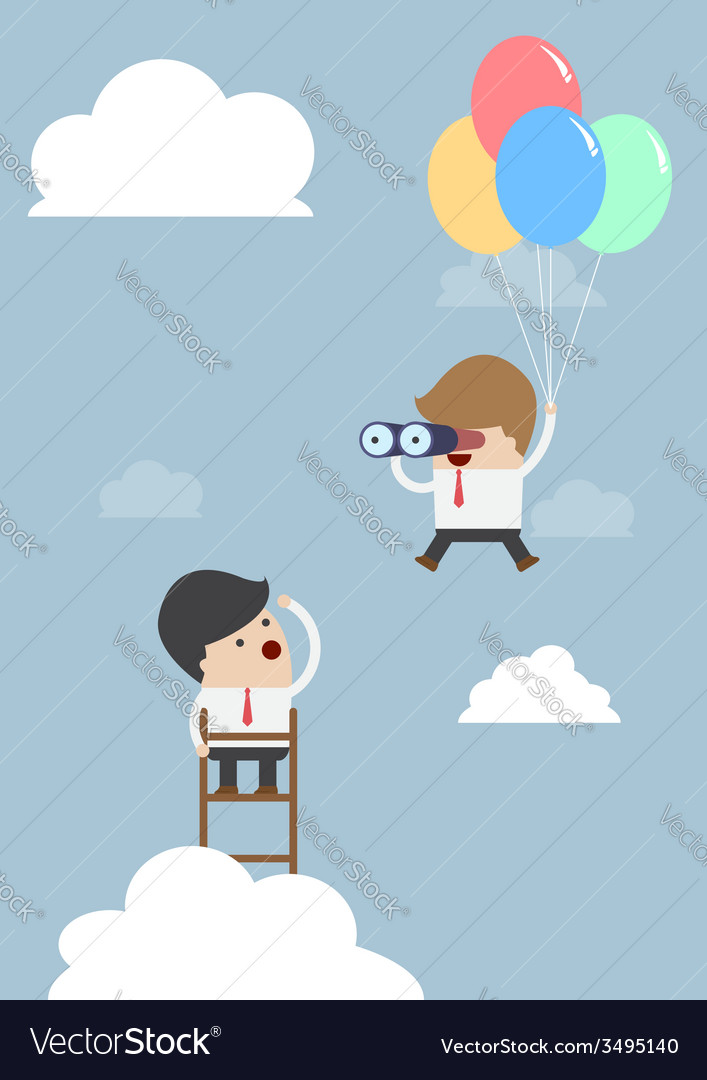 Business man flying with balloon and using binocul vector