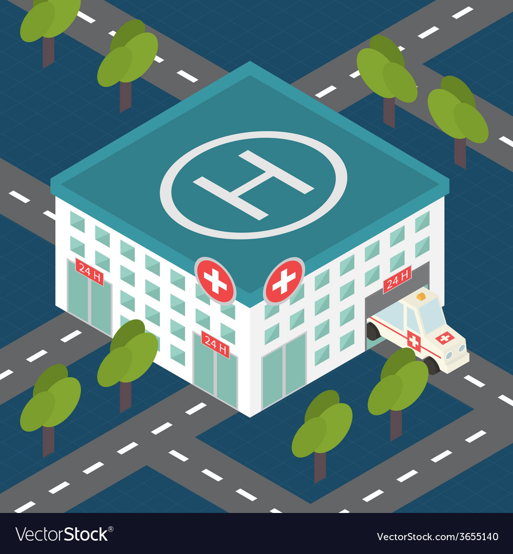 Hospital building medical flat isometric vector