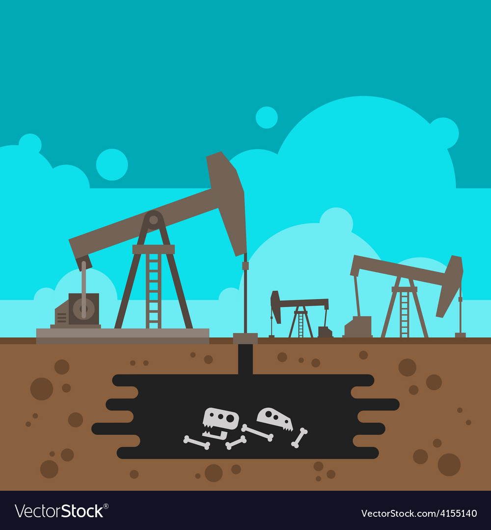 Oil well drilling with fossil underground vector