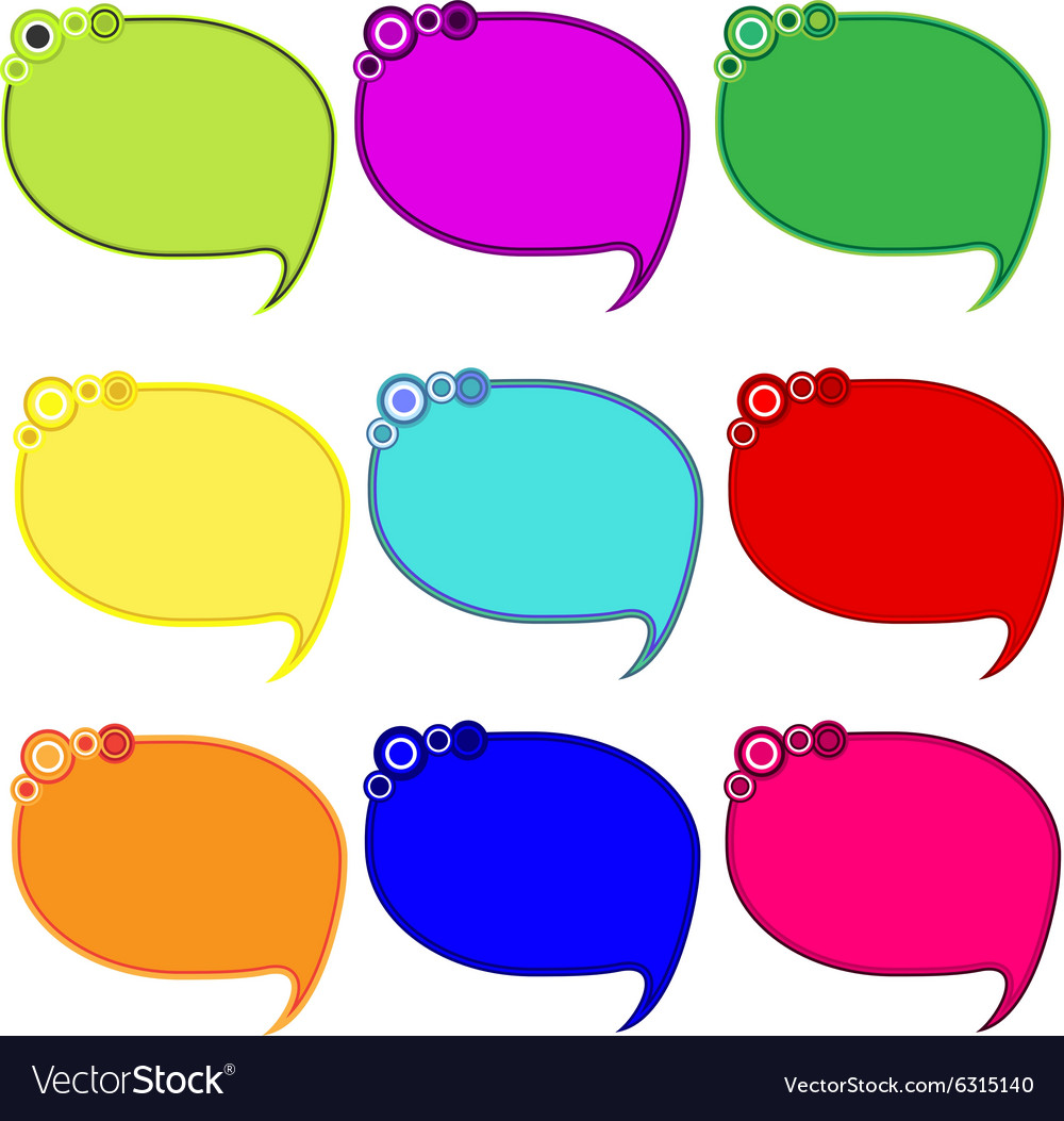 Printable bubble blank empty speech bubbles icons vector