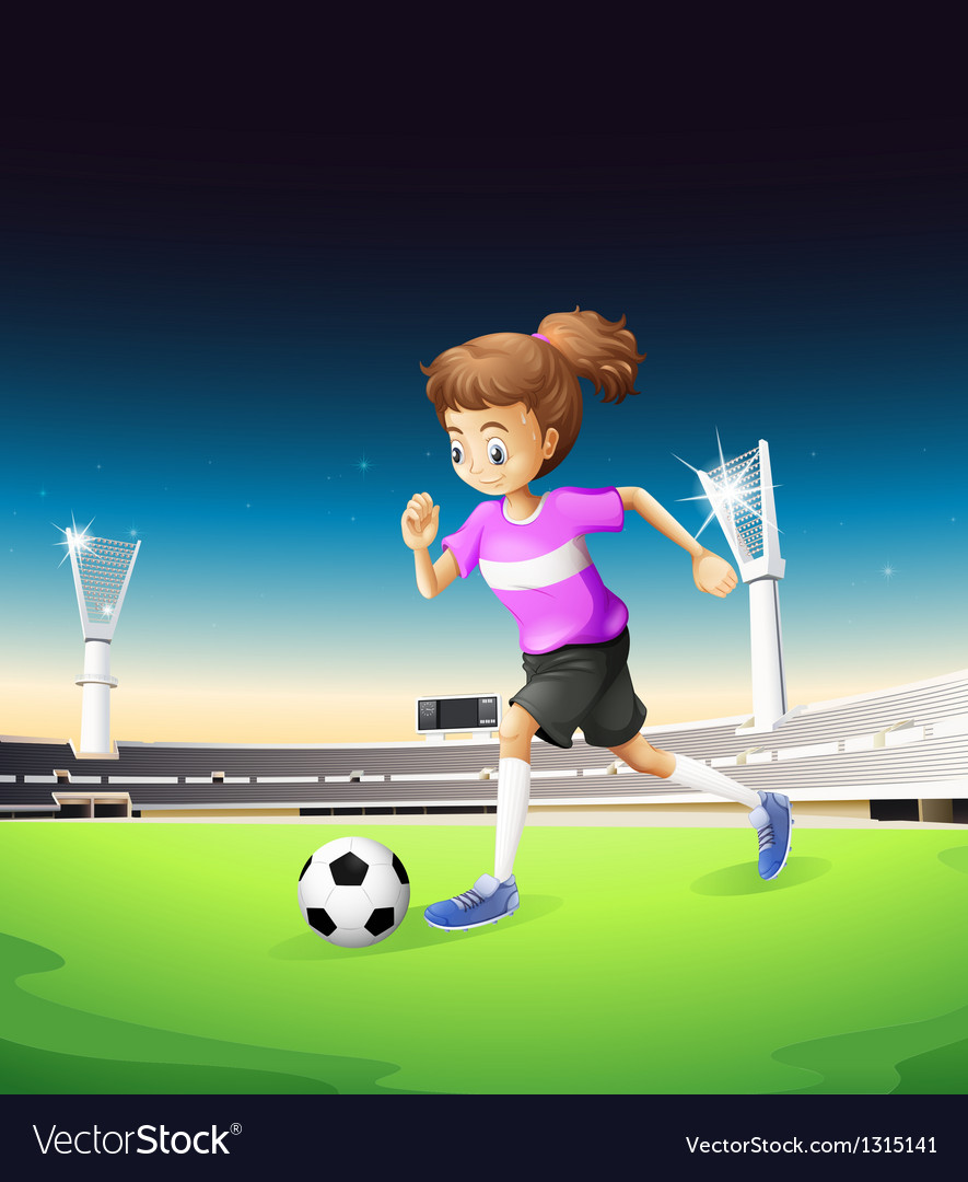 A girl playing football at the field vector