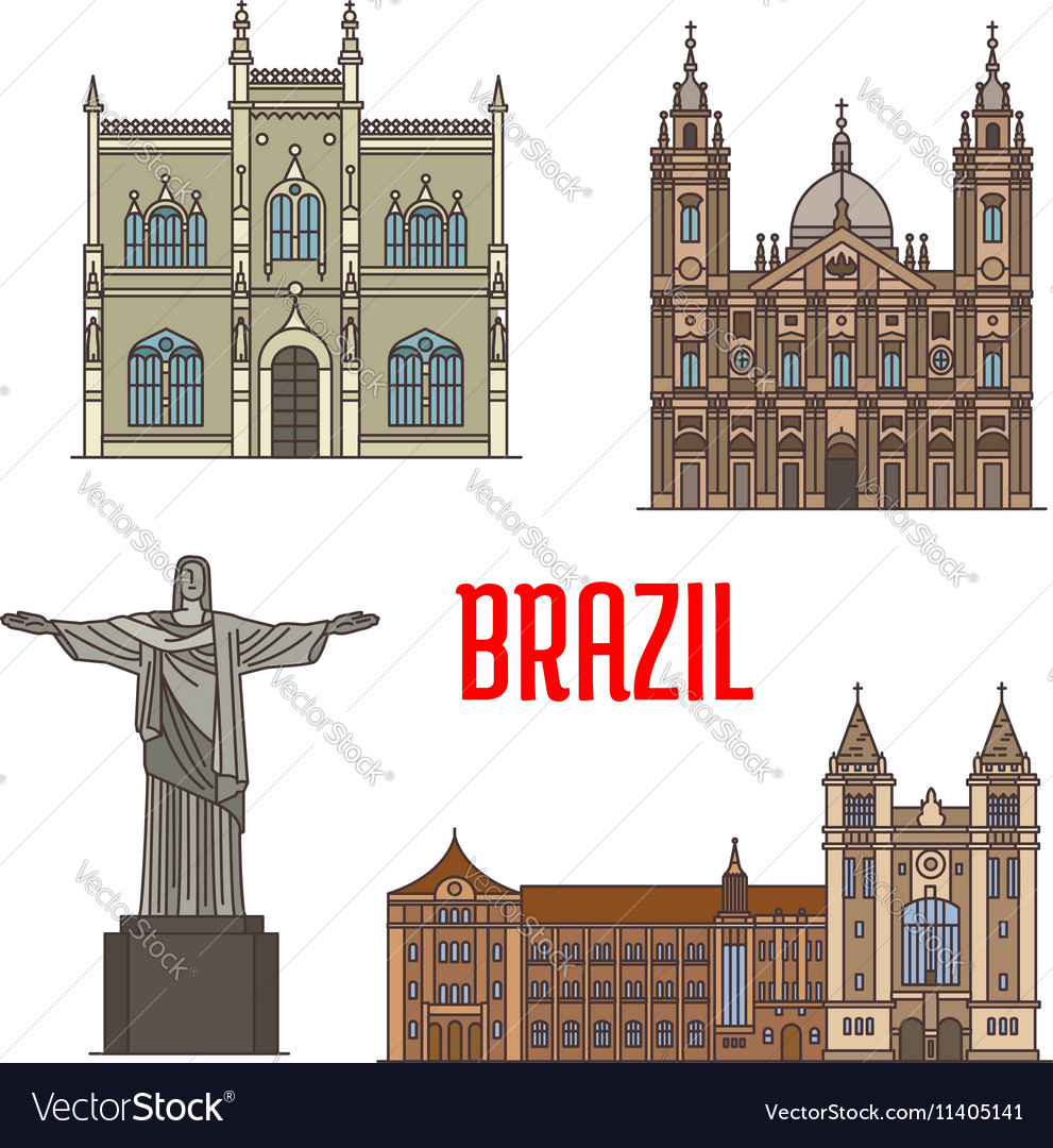 Tourist attraction architecture landmarks in vector