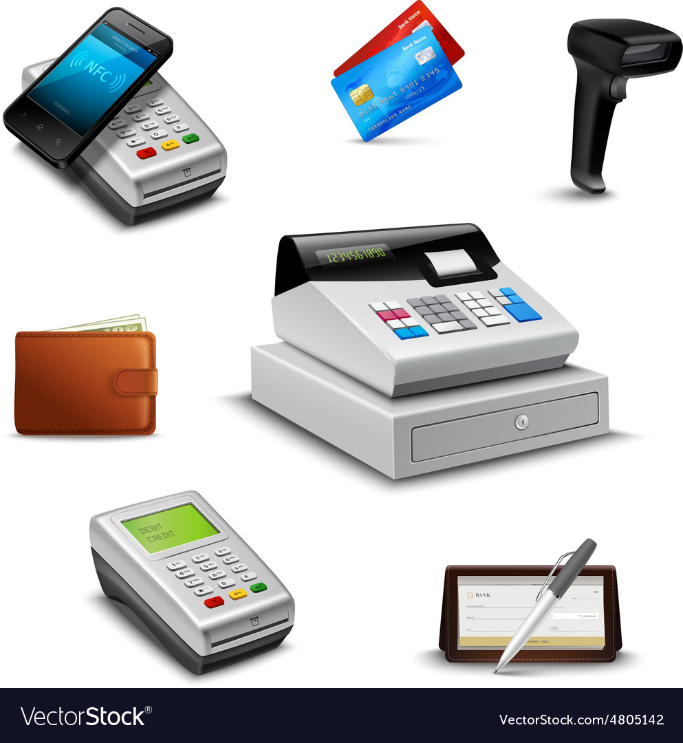Realistic payment set vector