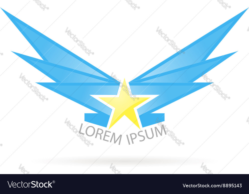 Logo star with wings vector