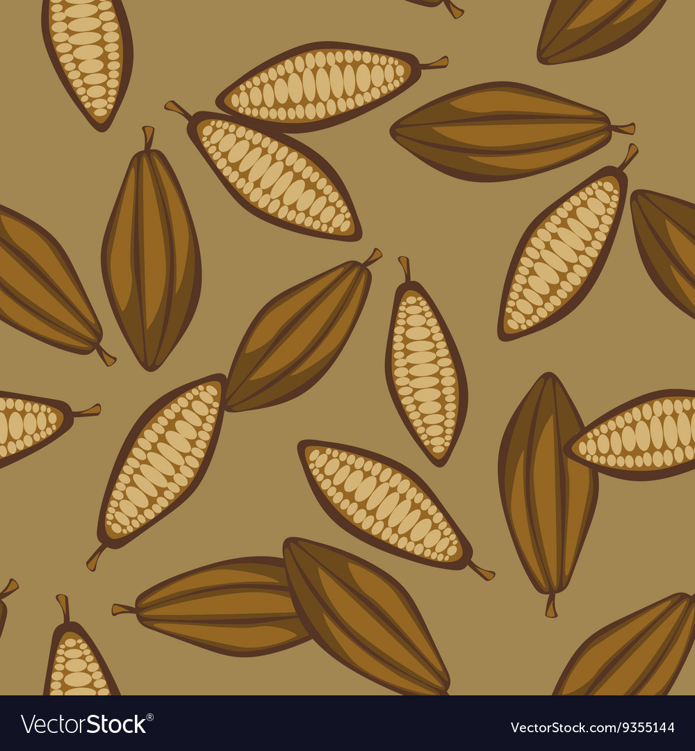 Cocoa beans seamless pattern chocolate background vector