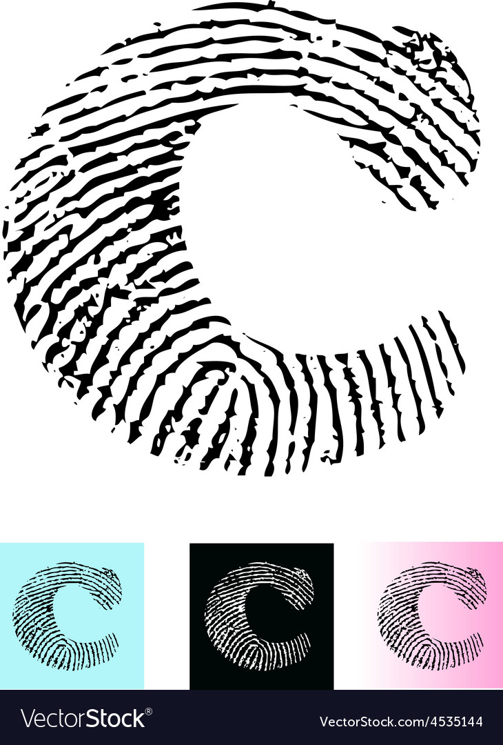 Fingerprint alphabet letter c vector