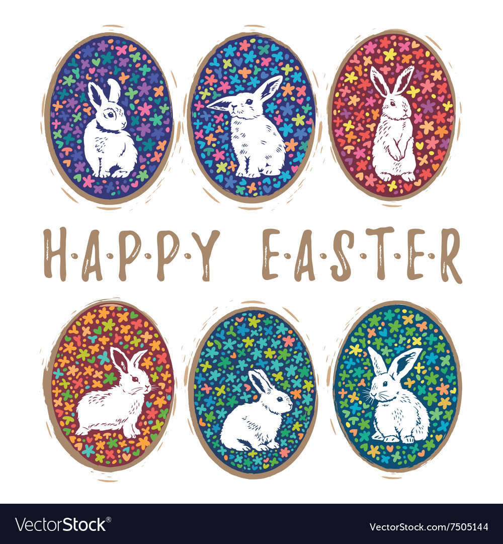 Floral easter eggs with bunny set vector