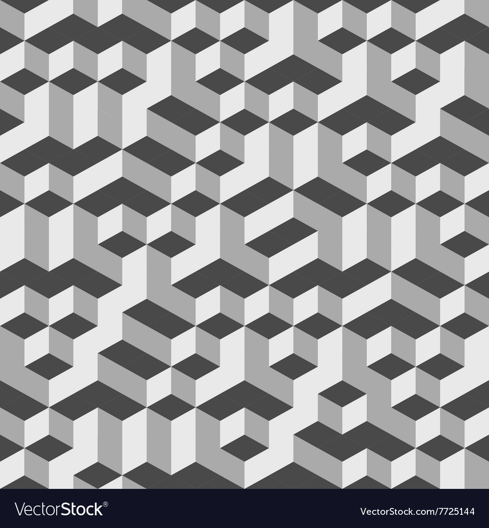 Grey geometric volume seamless pattern background vector