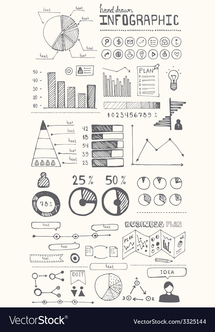 Hand drawn infographic elements vector