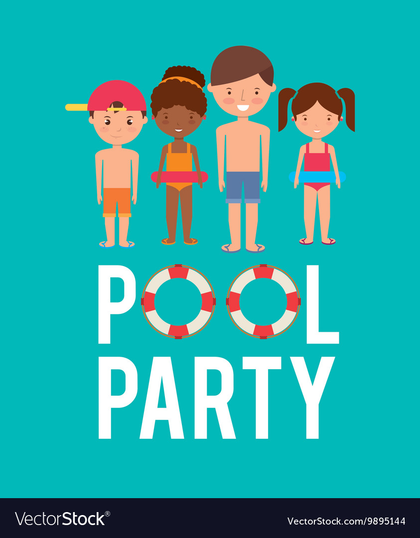Kids cartoon and float icon swimming and pool vector
