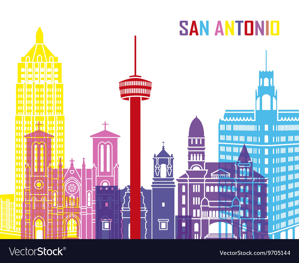 San antonio skyline pop vector