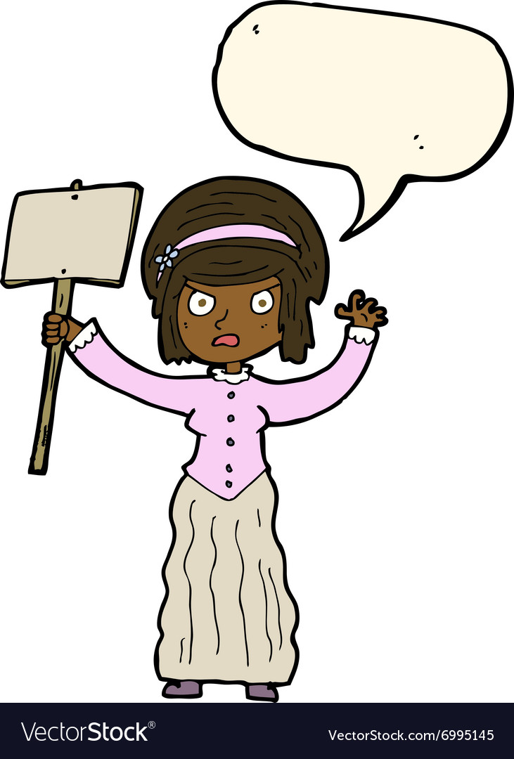 Cartoon victorian woman protesting with speech vector