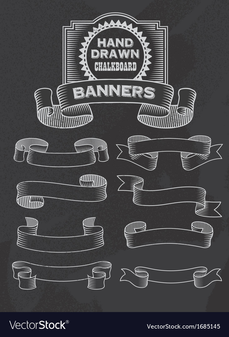 Chalkboard banner and ribbon design set vector