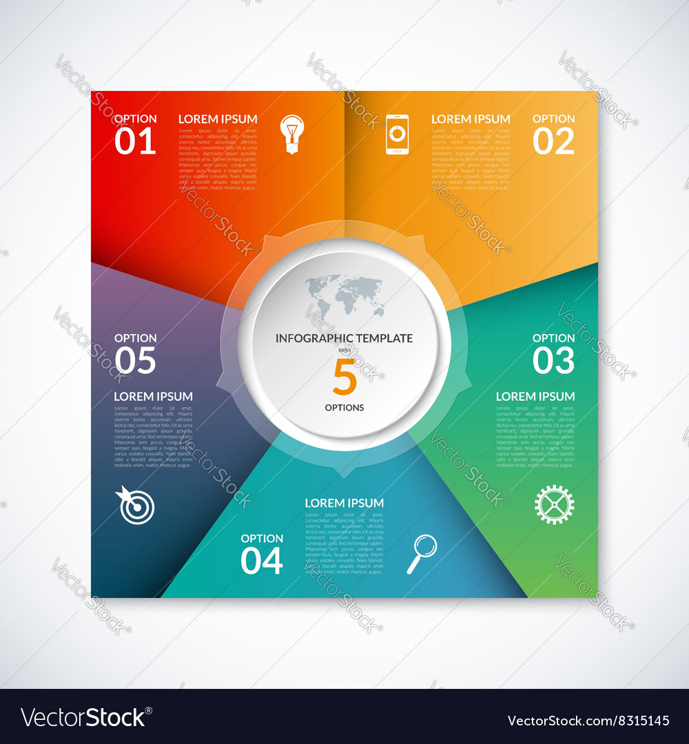 Infographic square template with 5 options vector