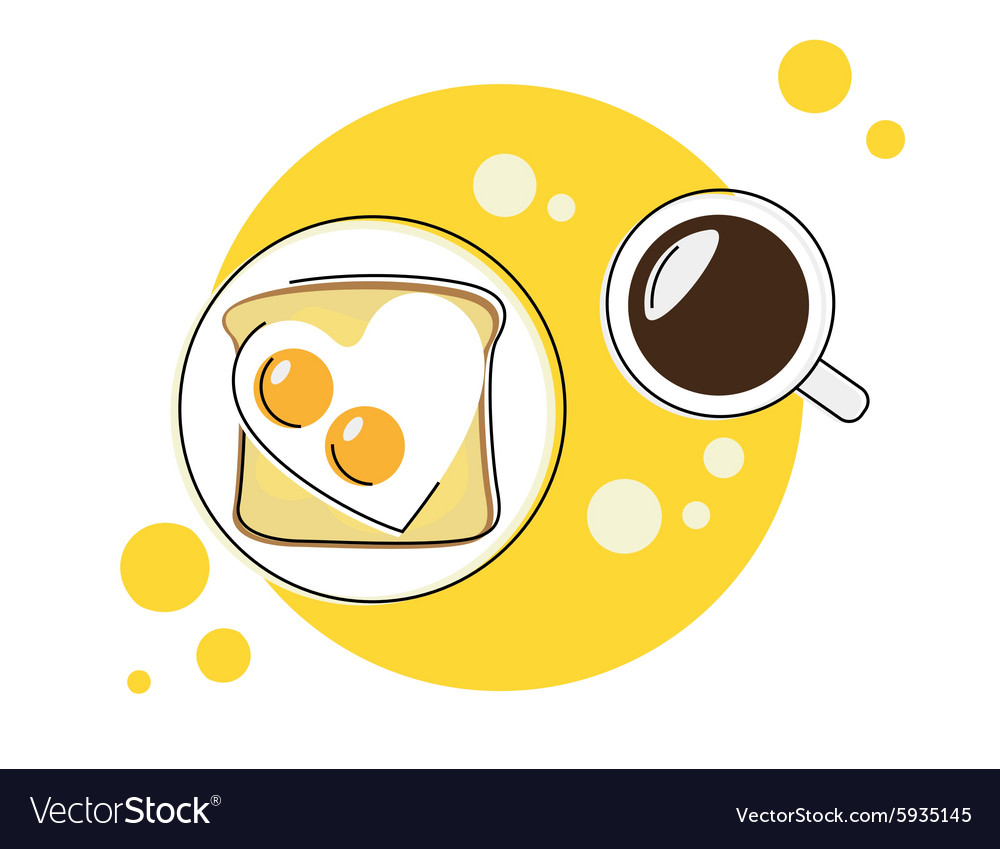 Morning breakfast round icon vector