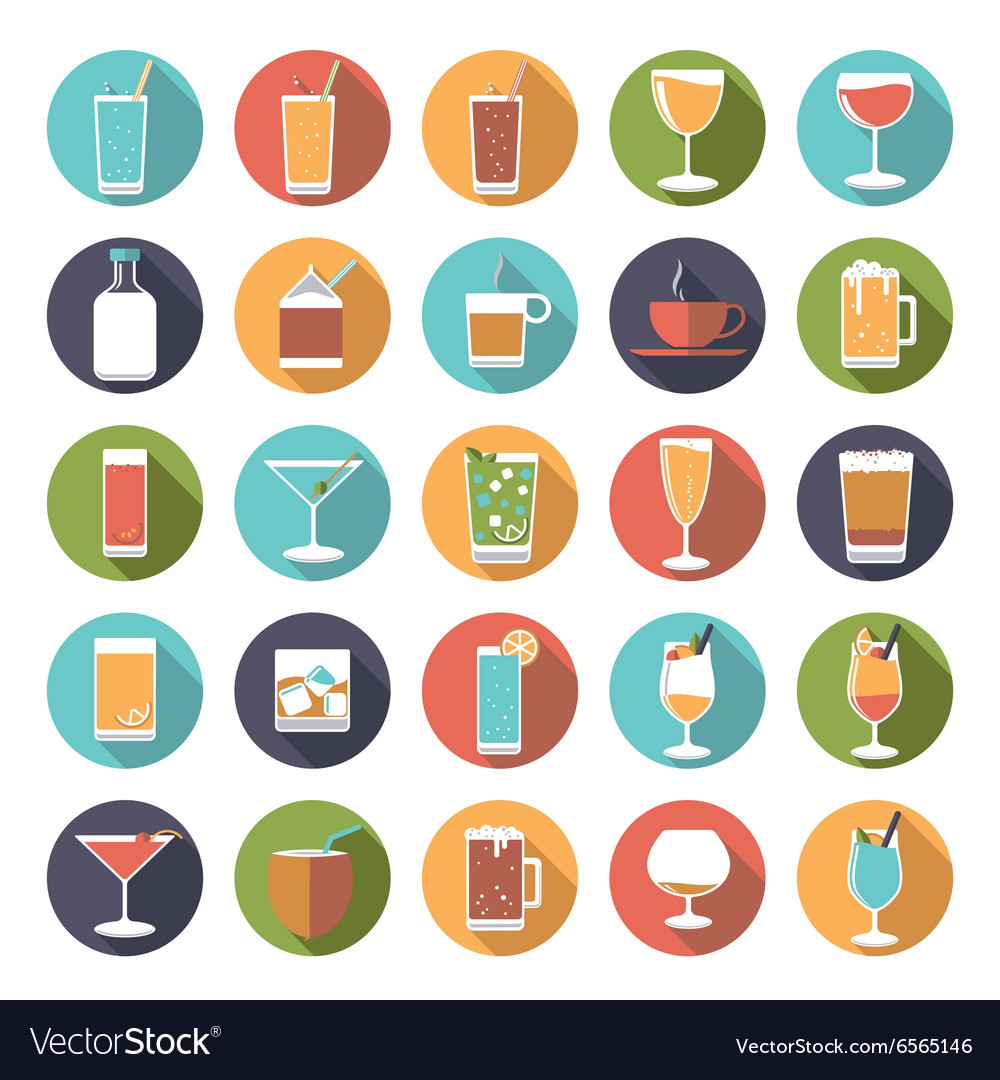 Circular drinks and beverages icons set vector