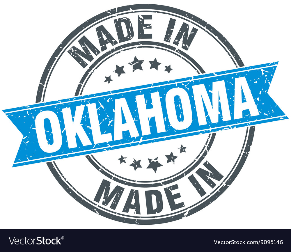 Made in oklahoma blue round vintage stamp vector