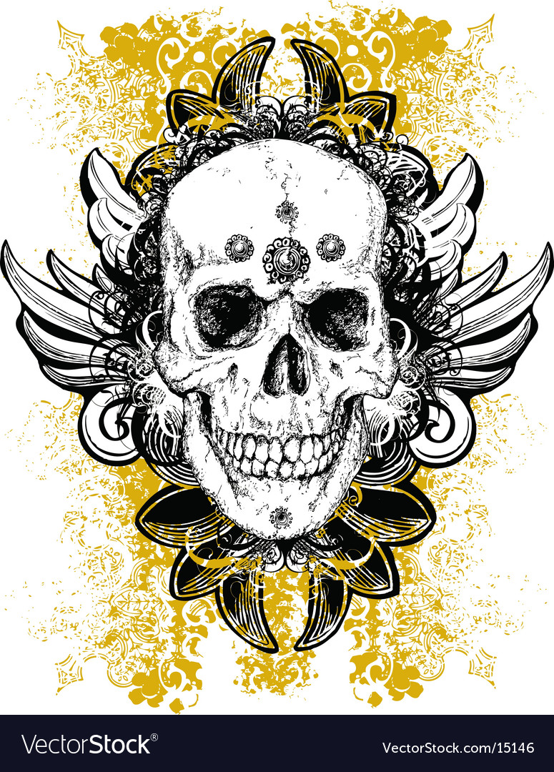 Stained skull grunge vector
