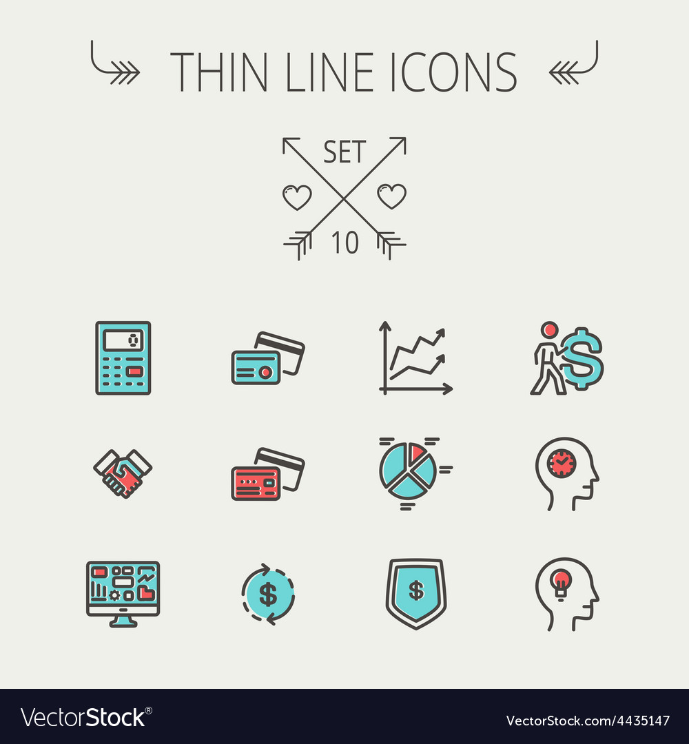 Business thin line icons vector