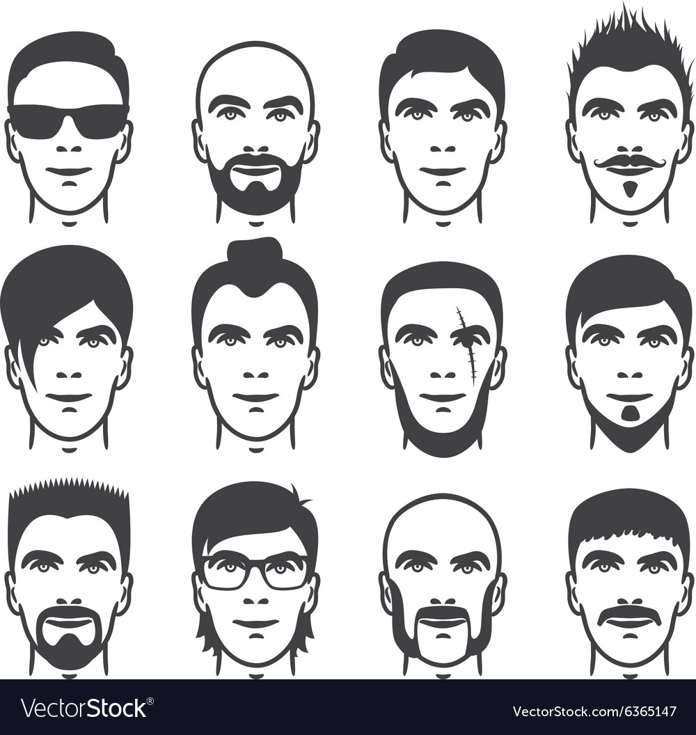 Man faces set vector
