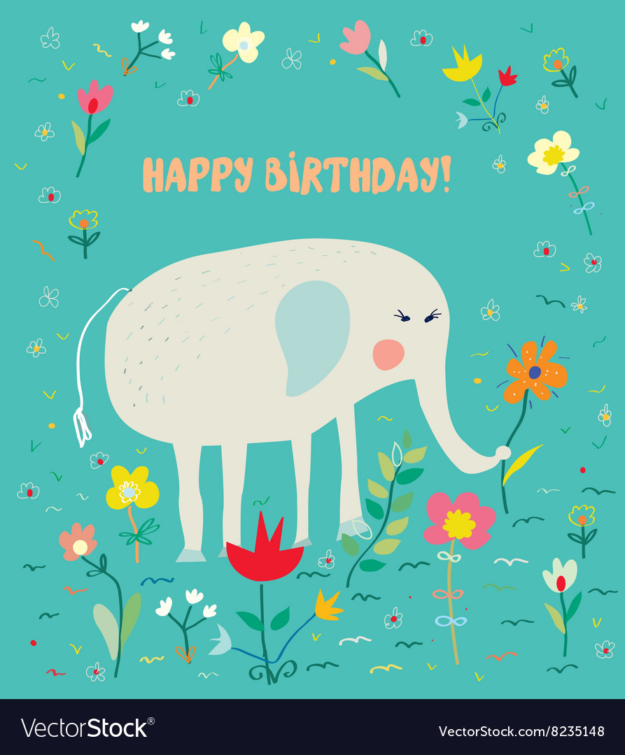 Birthday card for kids with elephant and flowers  vector