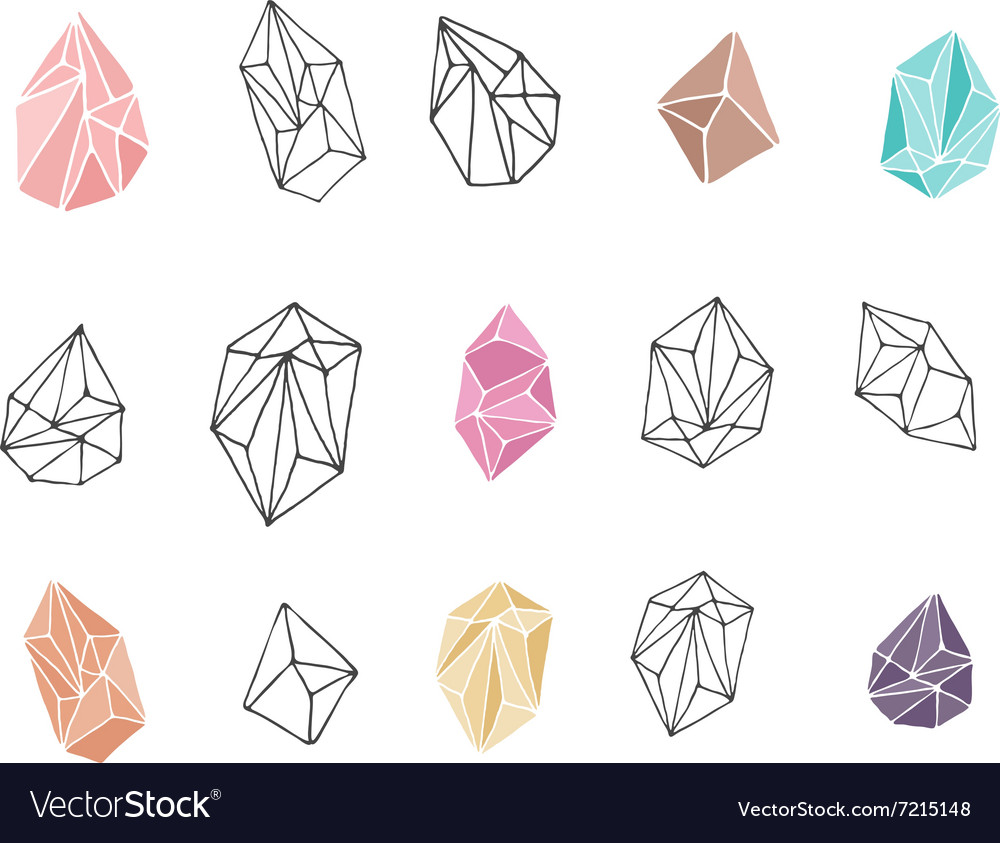 Crystals  hand drawn elements vector