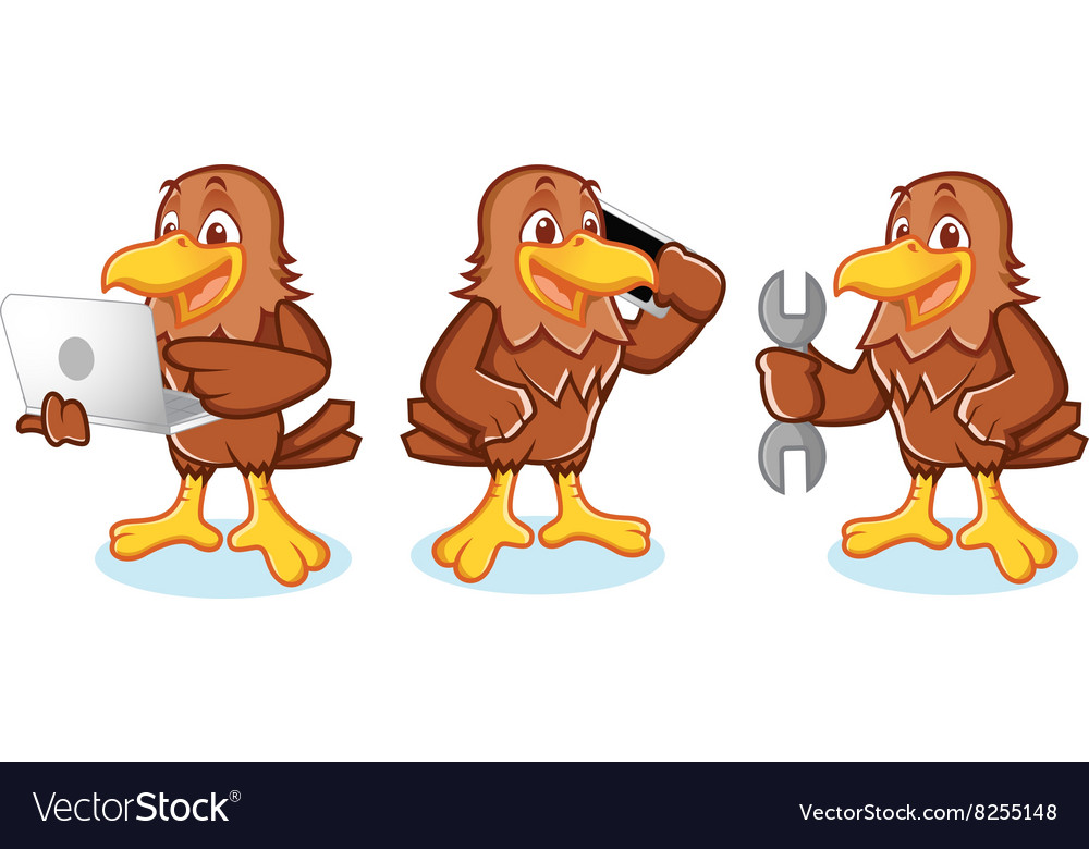 Hawk mascot with phone vector