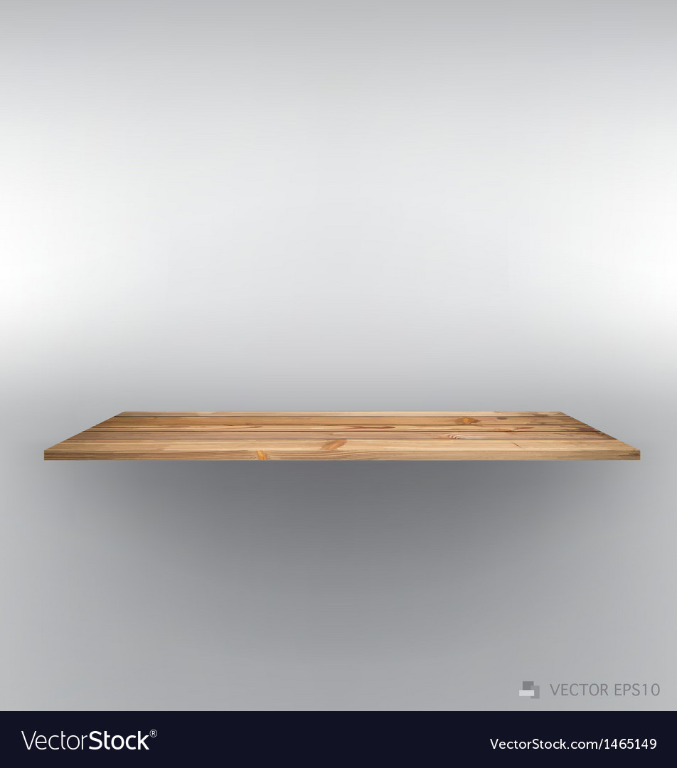 Empty wood shelf on wall vector