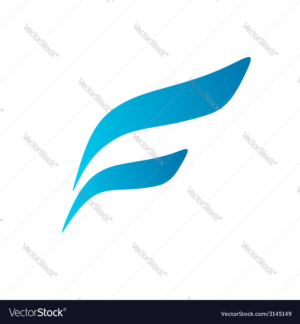 Letter f wing flag logo icon design template vector