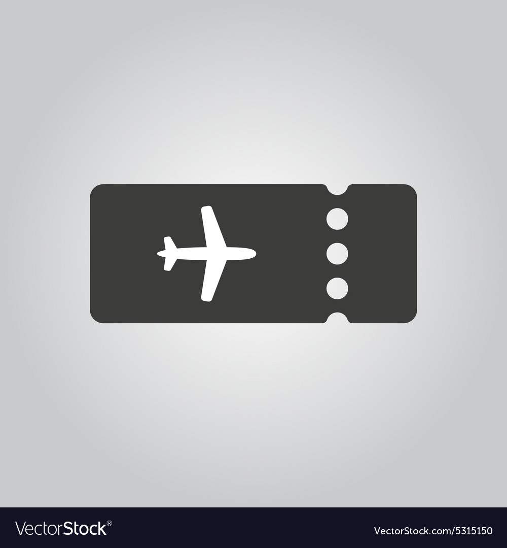 Blank ticket plane icon travel symbol flat vector