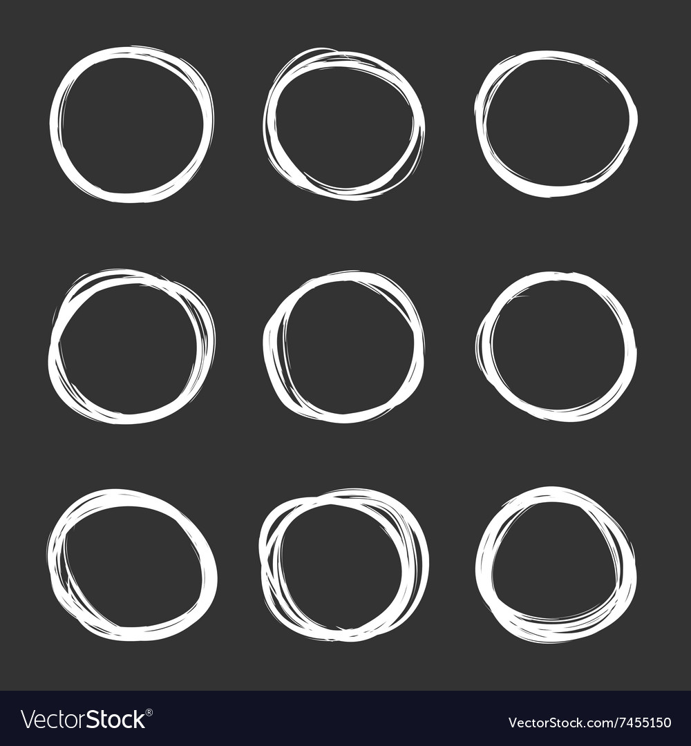 Dark set of hand drawn scribble circles vector